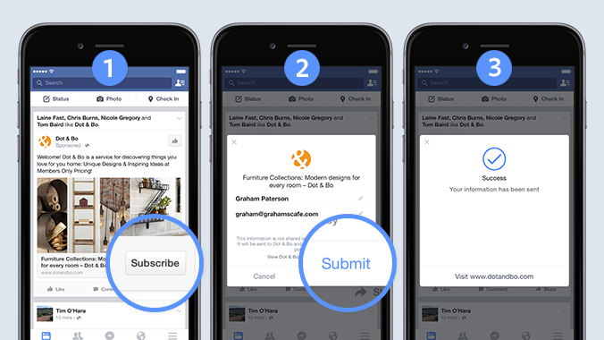 Lead Ads de Facebook, suscribir directamente por Facebbok